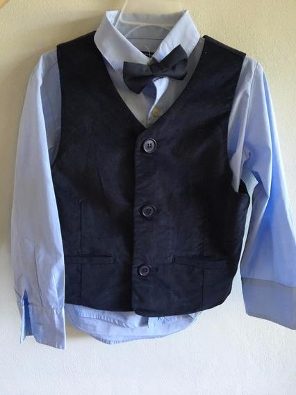 Conjunto Camisa Chaleco Y Moño Niño