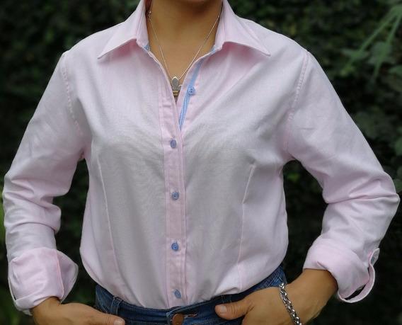 Camisa Dama Di Varezzi Algodón Oxford Celeste Manga Larga