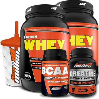 Kit 2 X Whey Protein 900g + Bcaa + Creatina - New Millen