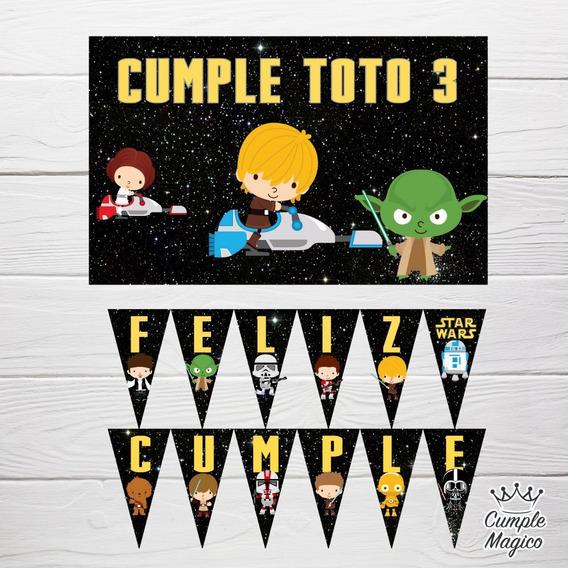 Star Wars Cartel Y Banderín Personalizado Deco Cumpleaños