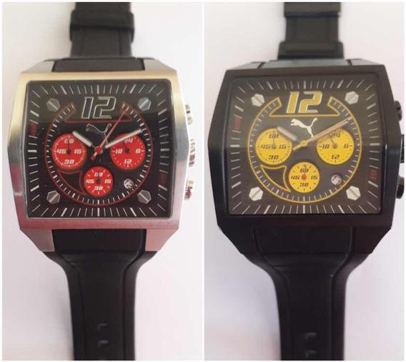 Kit 02 Relógios Puma Race - 01 Vermelho E 01 Amarelo