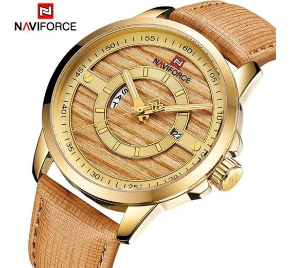 Relógio Naviforce Original Dourado 9151 Masculino Analógico