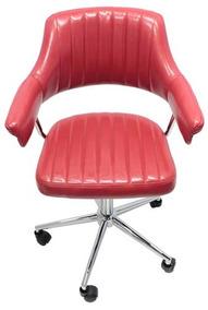 Cadeira Escritório Com Rodizio Pu Vermelho Goodsbr 86x65x65