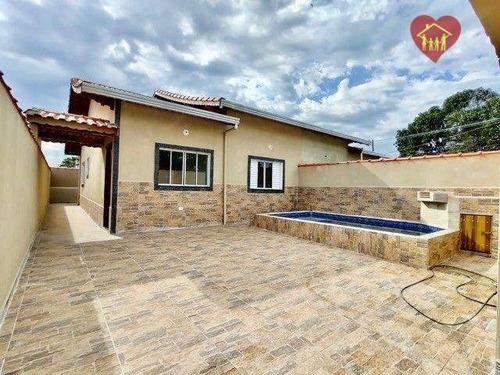 Casa Lado Praia Com Piscina E Churrasqueira Em Itanhaém. - Ca1018