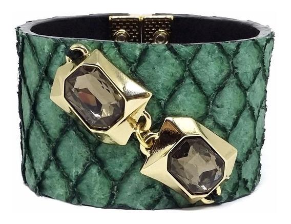 Bracelete Em Couro De Peixe Verde Com Fecho Ima
