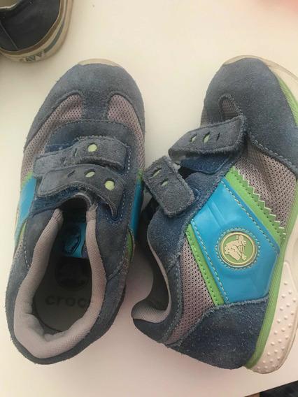 Zapatillas Crocs Azules Y Celestes Abrojos Talle 26 Importad