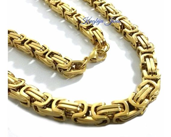 Cordão Masculino Grosso Peruano Bizantino Banhado Ouro 18k
