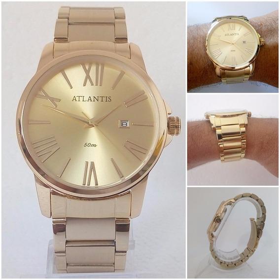 Relógio Masculino Atlantis G3313 Dourado Slim Vip Original