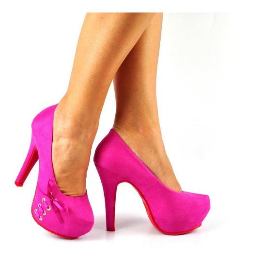 Scarpin Pink Sapato Feminino Salto Alto Bico Tubarão Top 751