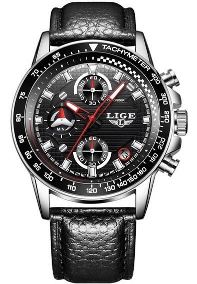 Reloj Casual Cuarzo Hombre Lige 9837 Plata Negro Cuero