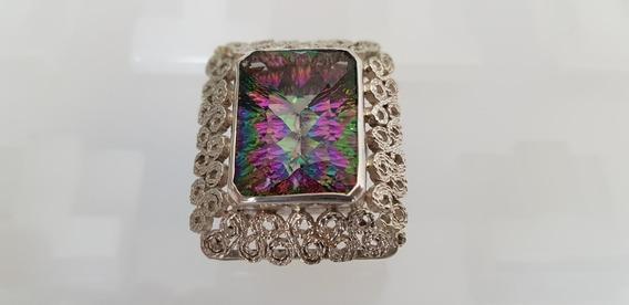 Anel Prata 950 Pedra Preciosa Cristal Lapidado Lazer Artesão