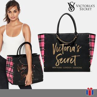 Victoria Secret Bolso City Negro Cuadros - Original Nuevo