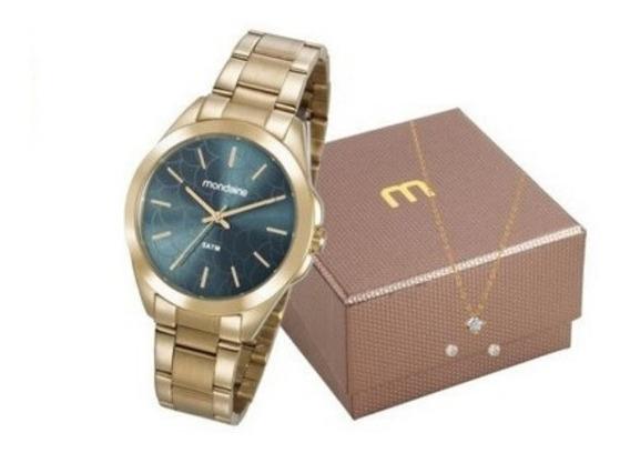 Kit Relógio Feminino Mondaine Dourado 78750lpmvda1k1
