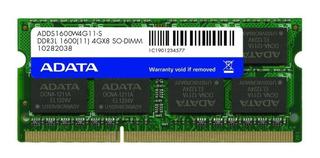 Memoria RAM 4GB 1x4GB Adata ADDS1600W4G11-S