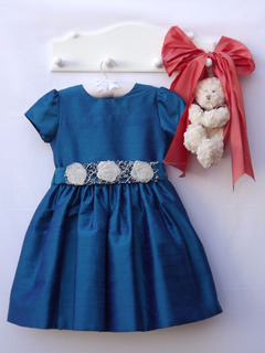 Vestido Infantil De Festa Tam 06 Tafetá Forro E Renda