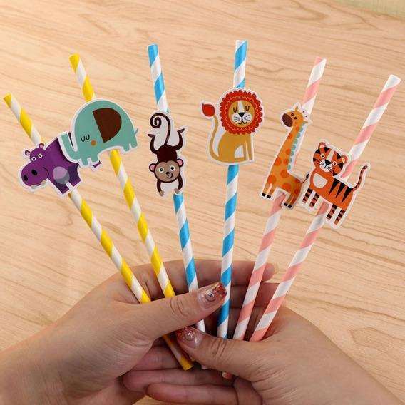 Paquete De 25 Popotes Biodegradables Para Fiesta Infantil