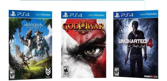 Kit 3 Jogos Horizon God Of War Uncharted 4 Ps4 Cuh2115b