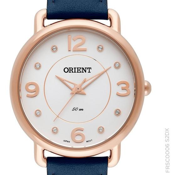 Relógio Orient Feminino Frsc0006 S2dx Couro Rosê C/ Nota