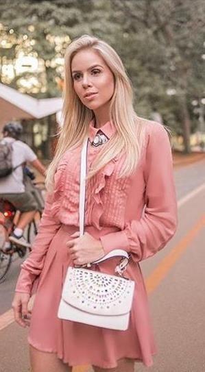 Vestido Rose Manga Longa Avizo Tam 38