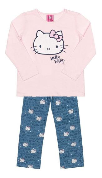 Pijama Manga Longa Adulto Mãe E Filha Hello Kitty