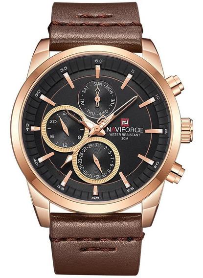 Relógio Naviforce 9148 Masculino Esportivo Pulseira Couro