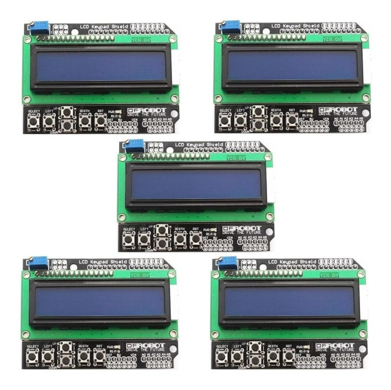 5x Display Lcd Keypad Shield 16x2 Com Teclado Botões Arduino