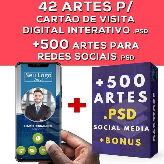 Pacote Artes Cartão De Visita Digital + Social Media Psd