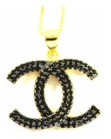 Colar Zirconias Negras Banhado A Ouro 18k