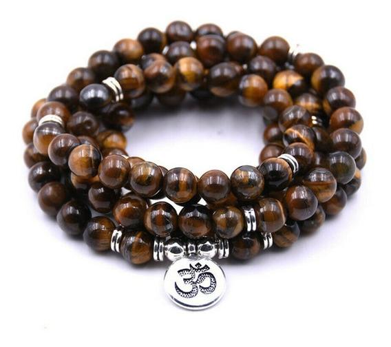 Japamala Olho De Tigre Pedra Natural Terço Budismo Yoga