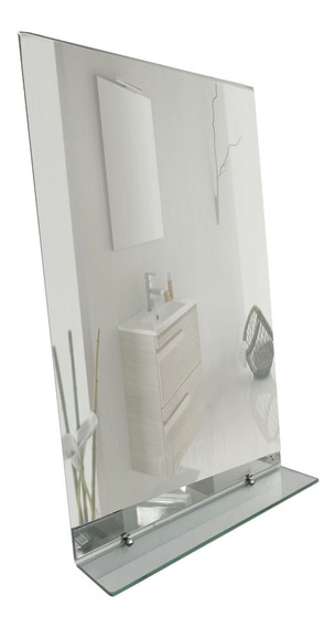 Espejo Baño Sin Marco 50x70 3mm + Estante De 6mm + Soportes