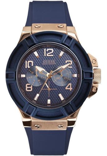 Reloj Guess Rigor W0247g3 Azul Para Caballero 100% Original