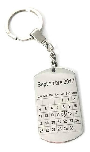 Llavero Calendario Personalizado Por Atras Con Texto