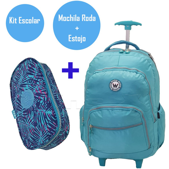 Mochilete + Estojo Tactel Roda Juvenil Rodinha G Wookey3464