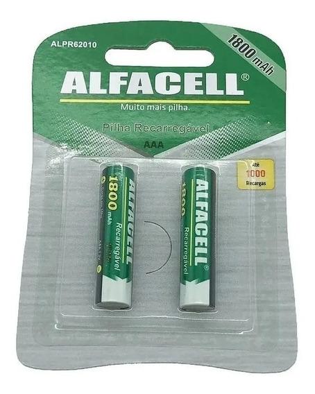 Pilha Palit Aaa Recarregável Alfacell 1800mah(kit C/ 2 Pares