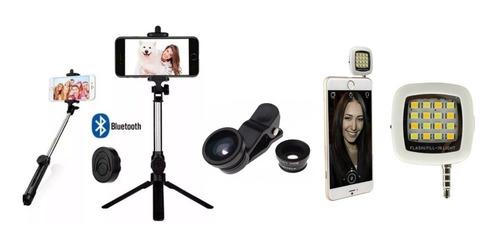 Palo Selfie Tripode Control Bt Luz Led Lente Ojo Pez Tik Tok