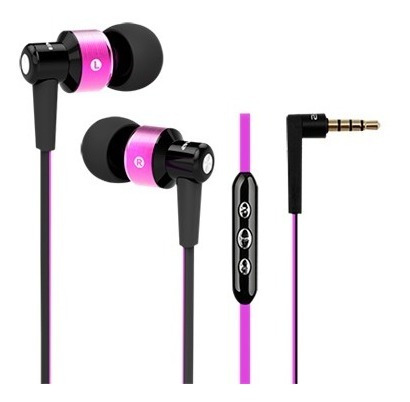 Fone Ouvido Intra-auricular Rosa Com Controle Elsys F0111-7