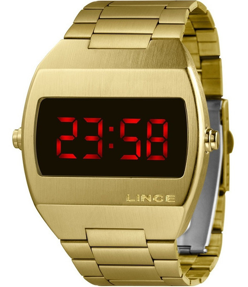 Relógio Masculino Lince Digital Dourado Mdg4620lvxkx