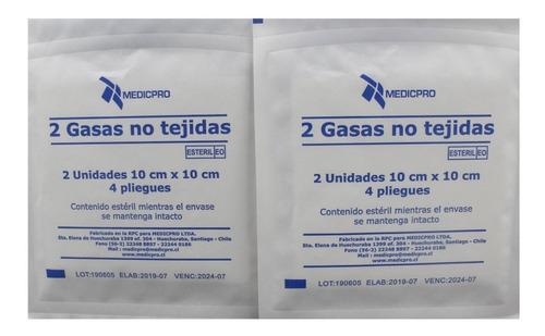 Gasa No Tejida Esteril 10 X 10 Cm, Caja X 50 Sobres X 2 Unds