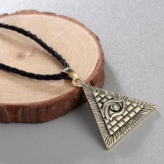 Colar Olho Hórus Iluminati Pirâmede Egípcio Cordão Ouro