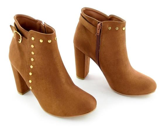 Zapatos Botin Dama Tacon Ancho Mujer Gamuza Cafe M4285