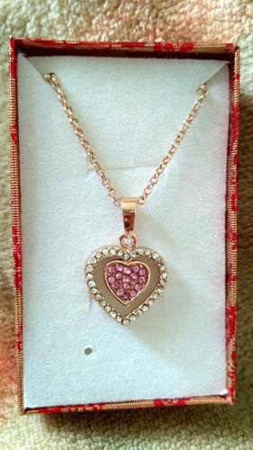 Collar Corazon Amor Cristales Rosados Con Caja Regalo Nuevo