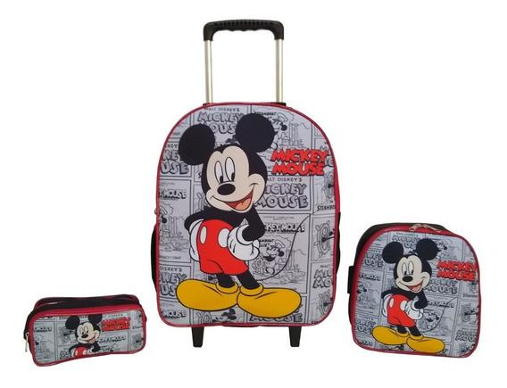 Kit Mochila Carrinho Infantil Escolar - Mickey Mouse 2020