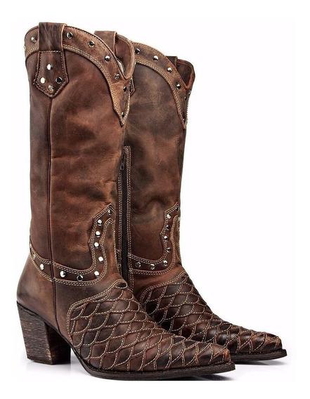 Bota Feminina Country Texana Rodeo Escama/tatu Capelli Boots