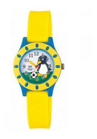 Relogio Infantil Masculino Q&q Amarelo Azul Desenho Pinguim