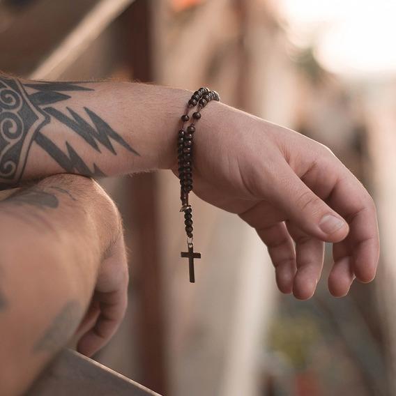 Pulseira Masculina Feminina Terço Crucifixo Pedra Madeira