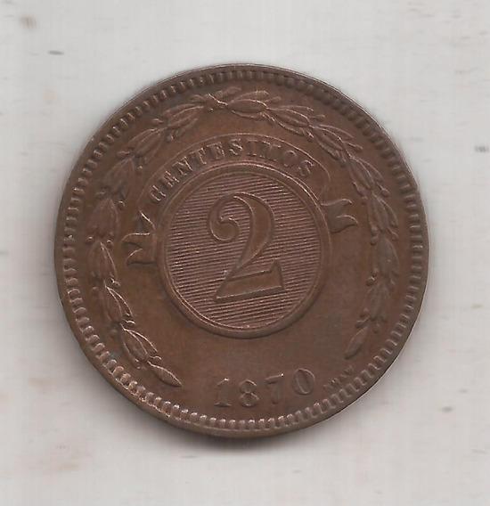Paraguay Moneda De 2 Centesimos Año 1870 Muy Linda