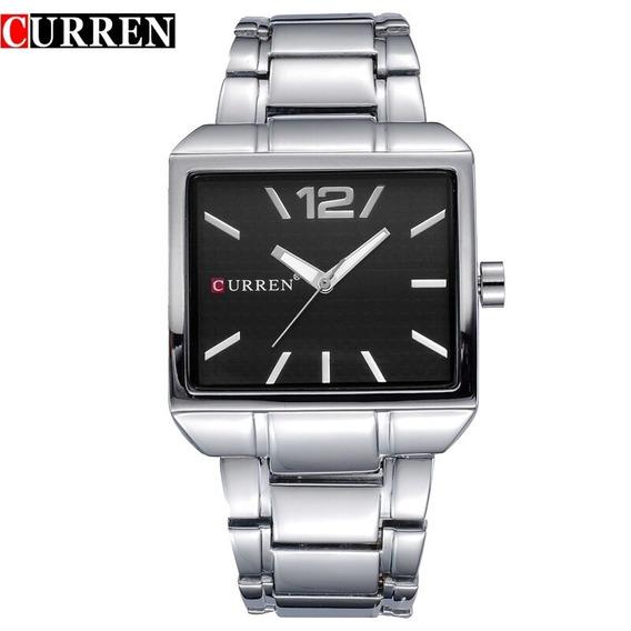Relógio Masculino Quadrado Curren Original Modelo Exclusivo Silver