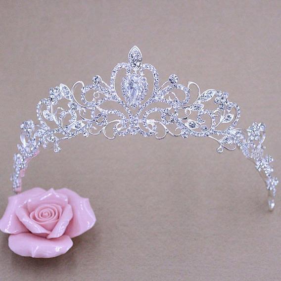 Tiara Prata Strass Noivas Coroa Cód 09