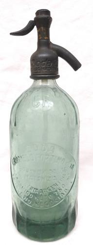 Imagen 1 de 4 de Antiguo Sifón Vidrio Verde Cabeza Plomo Soda Carmelo Fortino