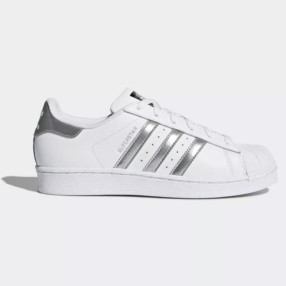 Tênis adidas Superstar Branco E Prata!!últimas Unidade!!